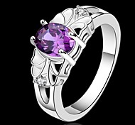 cheap -Women's Crystal Sterling Silver Statement Ring - Purple Ring For Wedding / Party / Daily
