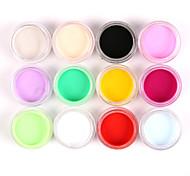 12шт смешанные цвета Nail Art акриловые краски порошок ногтей скульптуры резьба УФ живописи пыль для салона украшения ногтя
