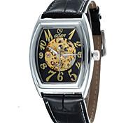 мужская баррель кожа формы сплав Циферблат ремешок автоматические механические водонепроницаемые часы (разных цветов)