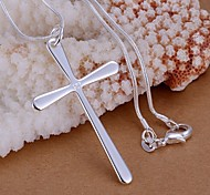 cheap -Women's Cross Sterling Silver Pendant Necklace  -  Basic Simple Style Necklace For Wedding Party Gift