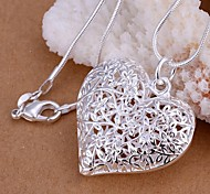 cheap -Women's Heart S925 Sterling Silver Pendant Necklace  -  Love Hollow Fashion Silver 45cm Necklace For Wedding Party Daily