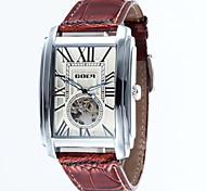 Недорогие -Мужской Часы со скелетом Механические часы Защита от влаги С автоподзаводом Кожа Группа Люкс Черный Коричневый