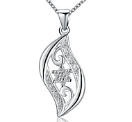 Fashion Style 925 Sterling Silver Jewelry Creative Leaf Star with Zircon Pendant Necklace for Women