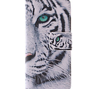 белый дизайн тигра пу кожаный чехол для всего тела с подставкой и слот для карт iPhone 5с