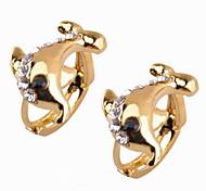 Fashion Women's Cubic Zirconia/Brass Dolphin Hoop Earrings With Cubic Zirconia