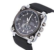 Hombre Reloj Deportivo Reloj de Pulsera Japonés Cuarzo LCD Calendario Cronógrafo Resistente al Agua Dos Husos Horarios alarma Caucho Banda