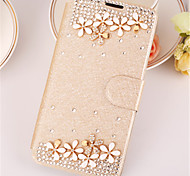 For iPhone X iPhone 8 iPhone 6 Case Cover Rhinestone with Stand Flip Full Body Case Solid Color Hard PU Leather for Apple iPhone X iPhone