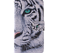 White Tiger Design PU Leather Full Body Case with Stand and Card Slot for Samsung Galaxy A3/A3000