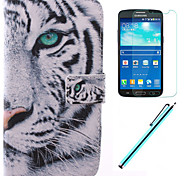 White Tiger Design PU Leather Full Body Case with Film and Capacitance Pen for  Samsung Galaxy G7106