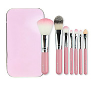 Mini Style Gift 10cm PINK 7pcs Cute Makeup Cosmetic Makeup Brush Set Kit Pouch Bag Case Brushes