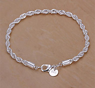 cheap -Women's Sterling Silver Chain Bracelet - Basic Fashion Snake Geometric Jewelry Silver Bracelet For Wedding Party Daily