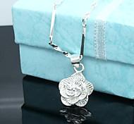 baratos -Mulheres Prata de Lei Prata Chapeada Colares com Pendentes - Floral Flores Rose Flor Colar Para