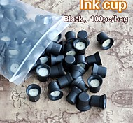 100pcs/Bag Permanent Makeup Ink Cups With Sponge Ink Caps Holder Ink Rings