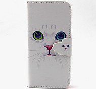 White Cat Pattern PU Leather Case with Card Slot and Stand for Samsung Galaxy S4 mini/S3mini/S5mini/S3/S4/S5/S6/S6edge