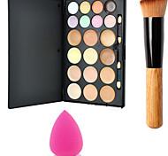 15colors палитру контуров пудра зеркало для макияжа + 1pcs порошок щеткой + губка слойка