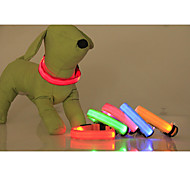 cheap -Cat Dog Collar LED Lights Adjustable / Retractable Solid Nylon Yellow Red Green Blue Pink
