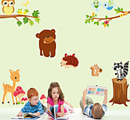 cheap -Wall Stickers Wall Decals Style Cartoon Animal General Mobilization PVC Wall Stickers