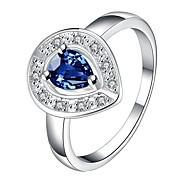 Ms Zirconium Platinum Diamond Heart-shaped RingImitation Diamond Birthstone