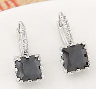 Stud Earrings Brass Zircon Cubic Zirconia Fashion Black Dark Blue Purple Green Light Blue Jewelry 2pcs