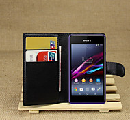 cheap -Case For Sony Xperia Z2 Sony Xperia M2 Other Sony Sony Case Card Holder Wallet with Stand Flip Full Body Cases Solid Color Hard PU Leather