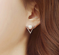 Euner® 2015 New Arrival Elegant Pearl Stud Earrings Fashion Gold Plated Triangle Metal Ear Stud For Women