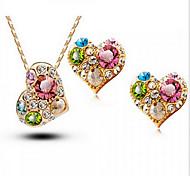 Juego de Joyas Cristal Amor Moda Brillante Austria Cristal Forma de Corazón Dorado Oro Rosa ParaBoda Fiesta Ocasión especial Cumpleaños