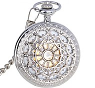 Men's Exquisite Carving Design Zinc Alloy Analog Mechanical Pocket Watch Silver Cool Watch Unique Watch