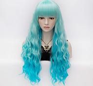 Недорогие -Искусственные волосы парики Кудрявый вьющиеся С чёлкой Карнавальный парик Парик для Хэллоуина Очень длинный Синий
