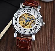 Мужской Наручные часы Механические часы Секундомер Защита от влаги С автоподзаводом Кожа Группа Люкс Черный Коричневый