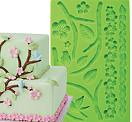 Cake Decoration Tools Nature Plum Branch Flower Fondant and Gum Paste Mould Cake Border Silicone Mold