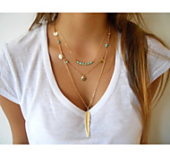 cheap -Women's Cute Cross Turquoise Layered Necklace  -  Tassel Vintage Party Feather Gold Silver Necklace For Special Occasion Birthday Gift