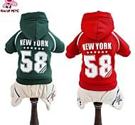 Perros Saco y Capucha Mono Camiseta Rojo Verde Ropa para Perro Invierno Primavera/Otoño Letra y Número Moda Deportes