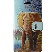 For Samsung Galaxy Note Card Holder / Wallet / with Stand / Flip Case Full Body Case Elephant PU Leather SamsungNote 4 / Note 3 Lite /