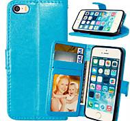 Недорогие -Для Кейс для iPhone 5 Бумажник для карт / Кошелек / со стендом / Флип Кейс для Чехол Кейс для Один цвет Твердый Искусственная кожаiPhone