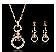 cheap -Women's Cubic Zirconia 18K Gold Jewelry Set Earrings Necklace - Vintage Cute Party Work European Jewelry Set For