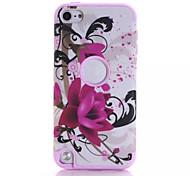 abordables -motifs de lotus de haute qualité logiciel enfichable sur pc + silicone hybride combo cas d'armure couverture pour ipod touch 5 (de couleur