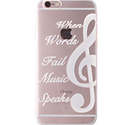 White Music Pattern Transparent Soft TPU Back Cover for iPhone 7 7 Plus 6s 6 Plus