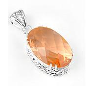 мода вперед старинных овальной морганита драгоценных серебра 925 пятиконечные звезды подвески для ожерелья для свадьбы повседневной 1шт