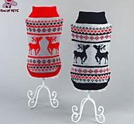 Недорогие -Кошка Собака Свитера Одежда для собак Рождество Новый год Северный олень Черный Красный Костюм Для домашних животных