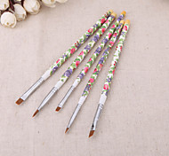 5PCS/set Nail Brushes Fashion New Nail Art Wood UV Gel Salon Pen Flat Brush Kit Dotting Nail styling Tools