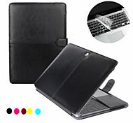Mode 2 in 1 PU-Leder-Laptop-Kastenabdeckung für macbook pro 13''15 '' mit Netzhaut + transparente Tastaturabdeckung protecter