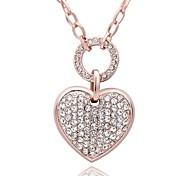 Mujer Collares con colgantes Collares de cadena Circonita Zirconio Rosa Oro Plateado La imitación de diamante Legierung Forma de Corazón
