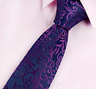 Men's Polyester Neck Tie,Vintage Party Work Casual Print All Seasons Purple