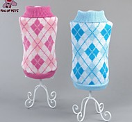 Cat / Dog Sweater Green / Blue / Pink / Rose Dog Clothes Winter Plaid/Check Casual/Daily