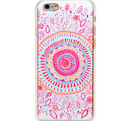 Pink Painted Flower Pattern Transparent PC Back Cover for iPhone 6