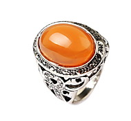 Statement Rings Gem Alloy Flower Carved Orange Green Jewelry Daily Casual 1pc
