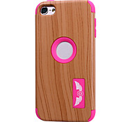 Wood Grain patterns High Quality Snap-on PC + Silicone Hybrid Combo Armor Case Cover for iPod touch 6(Assorted Color)