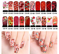 20pcs Water Transfer Nail Art Decals Full Cover DIY Nail Stickers Designs Manicure Nail Decorations (C3-001 to C3-020)