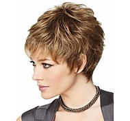 Women Synthetic Wig Short Wavy Brown Costume Wig