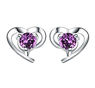 cheap -Women's Stud Earrings Crystal Love Heart Sterling Silver Crystal Silver Heart Jewelry Wedding Party Daily Costume Jewelry